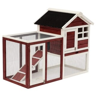"""Pawhut 48"""" Wooden Rabbit Hutch with Ladder and Outdoor Run"""