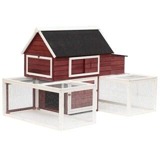 "PawHut 114"" Modular Wooden Backyard Chicken Coop With Nesting Box And Customizable Dual Outdoor Runs"