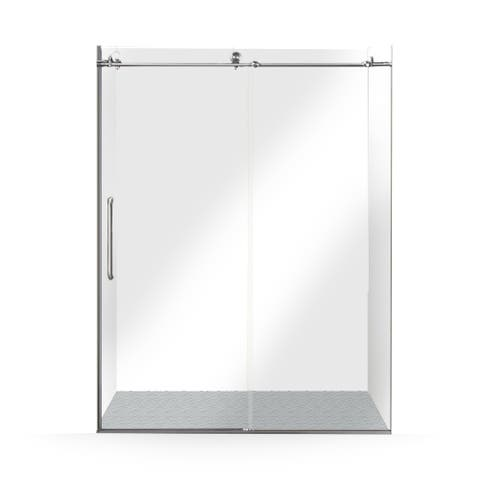 ALEKO Glass Sliding Shower Door 60 x 76 Inches Brushed Nickel