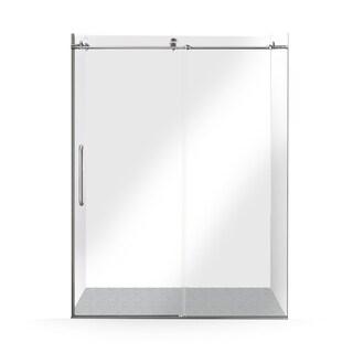 ALEKO Glass Sliding Shower Door 60 x 76 Inches Brushed Nickel