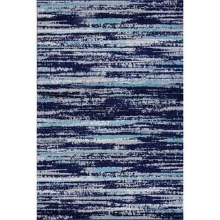 Edgemod Hennessy Distressed Stripe Area Rug in Blue