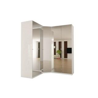 Corner Wardrobe 91 Inch with Swing Doors (Mirror)