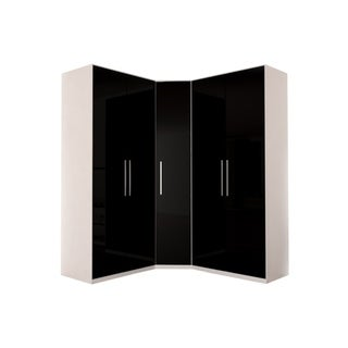 Corner Wardrobe 91 Inch with Swing Doors (black gloss)