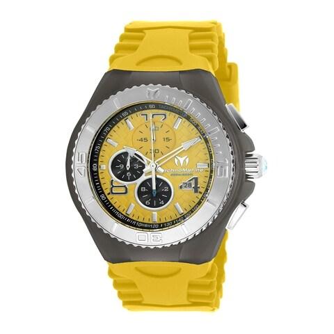 TechnoMarine Men's 'Cruise JellyFish' Chronograph Yellow Silicone Watch