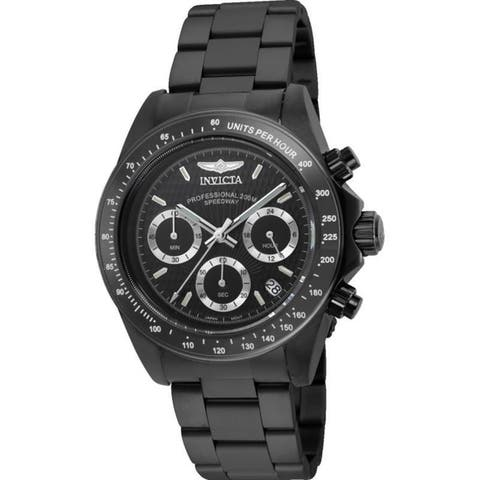 Invicta Men's 'Signature' Chronograph Black Stainless Steel Watch