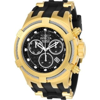 Invicta Men's 'Bolt' Black and Gold-Tone Polyurethane and Stainless Steel Watch