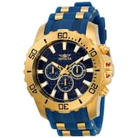 Invicta Men's  'Pro Diver' Scuba Blue and Gold-Tone Polyurethane and Stainless Steel Watch