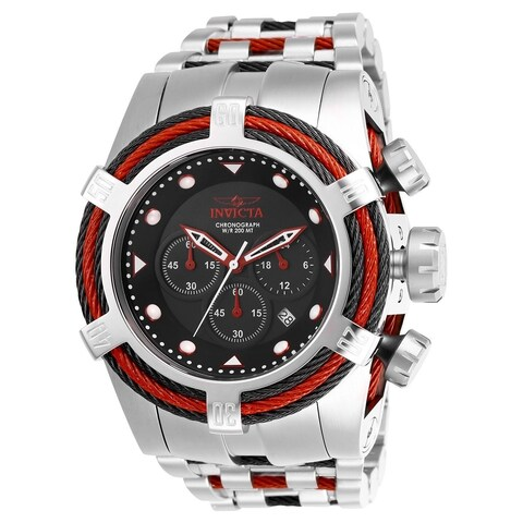 Invicta Men's 'Bolt' Zeus Tria Stainless Steel and Red Inserts Stainless Steel Watch