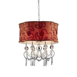 OK Lighting Amere Red-orange/Polished Chrome Metal/Crystal Ceiling Lamp