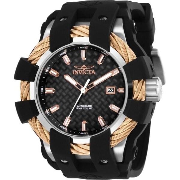 shop invicta men s bolt automatic black silicone watch free