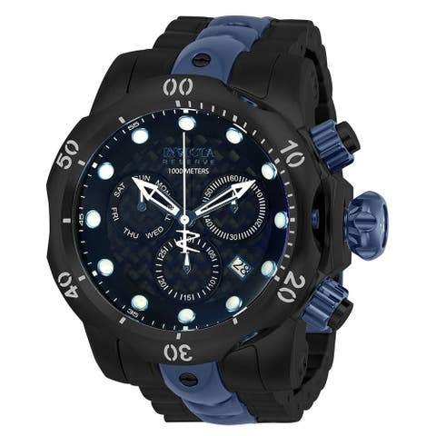 Invicta Men's 'Reserve' Venom Black and Blue Stainless Steel Watch