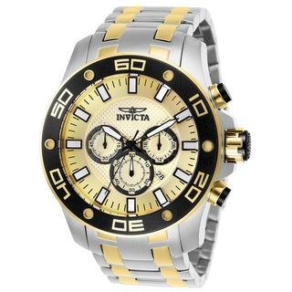 Invicta Men's 26080 'Pro Diver' Scuba Gold-Tone and Silver Stainless Steel Watch