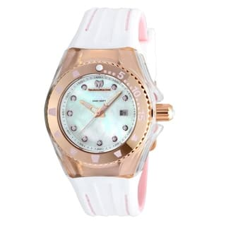 Technomarine Women S Cruise Locker Multi Function Pink And White Silicone Watch