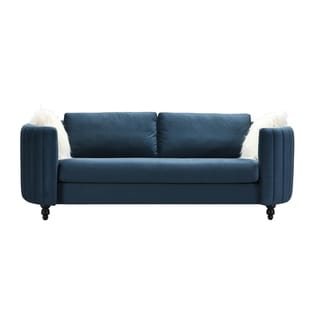 Chic Home Guadalupe Velvet Upholstered Channel-Quilted Sofa (Blue)
