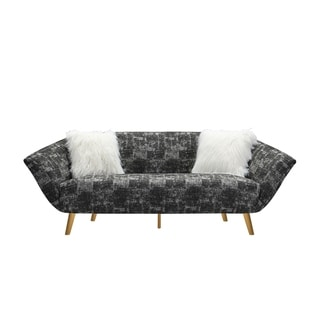 Chic Home Cheverny Textured Fabric Flared-Arm Sofa (Pattern - Black - Abstract)