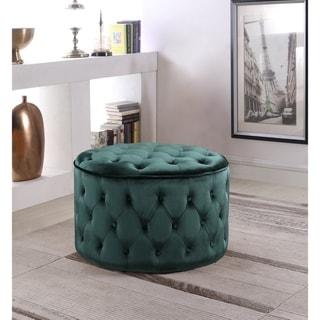 Chic Home Adna Velvet Upholstered Ottoman (Green)