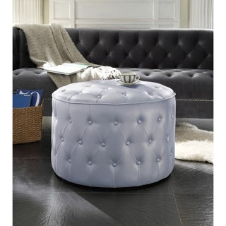 Chic Home Tosh PU Leather Upholstered Ottoman (Silver)