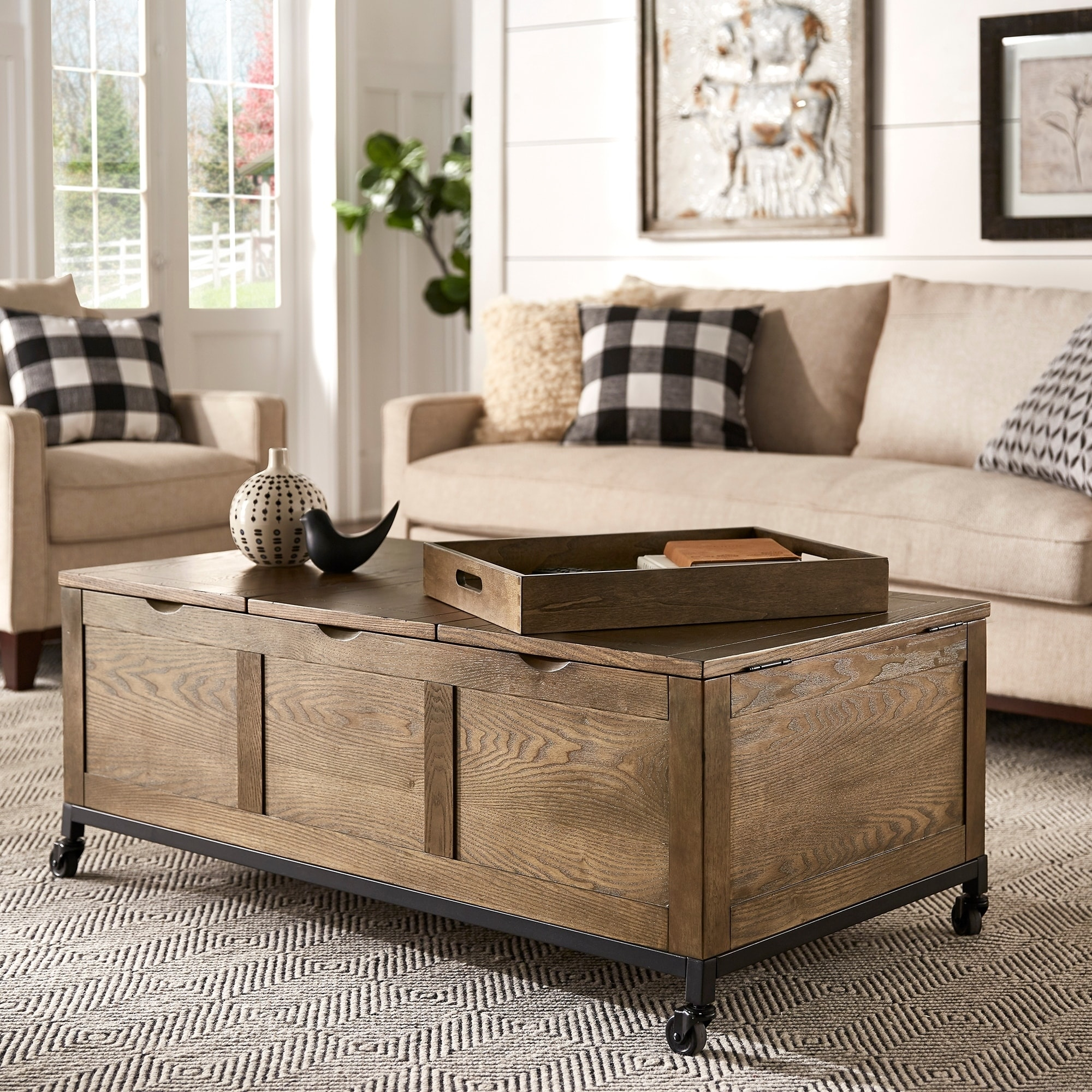Shay Rectangular Storage Cocktail Table with Removeable Tray and Caster Wheels by iNSPIRE Q Artisan - 54 x 84 (Brown)