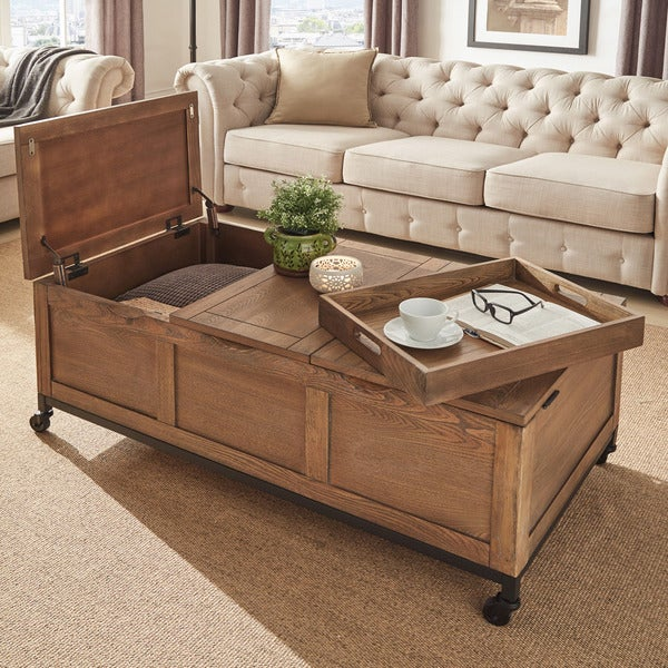 shop shay rectangular storage cocktail table with removeable tray and caster wheels by inspire q. Black Bedroom Furniture Sets. Home Design Ideas