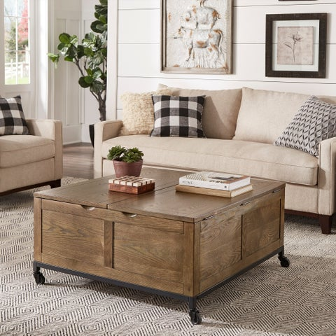 Shay Square Storage Trunk Cocktail Table with Caster Wheels by iNSPIRE Q Artisan