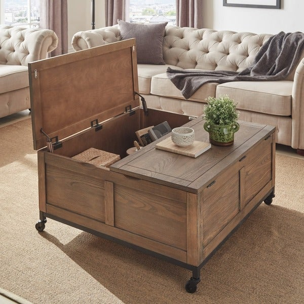 Shay Square Storage Trunk Tail Table With Caster Wheels By Inspire Q