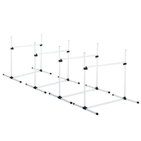 PawHut Adjustable Dog Agility Training Equipment Jump Bar with Carrying Bag - Set of 4 Poles