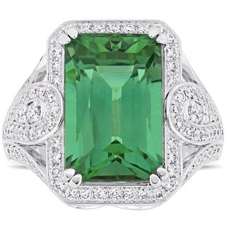Miadora Signature Collection 14k White Gold Octagon-Cut Natural Apatite and 4/5ct TDW Diamond Halo Cocktail Ring