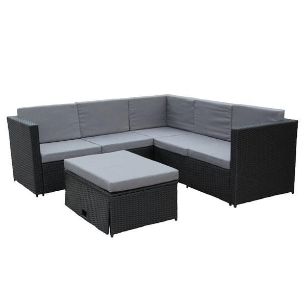 ALEKO Patio Rattan Furniture Corner Sofa Set With Storage Footstool