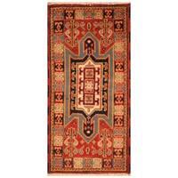 Herat Oriental Indo Hand-knotted Tribal Kazak Wool Rug (2' x 4')