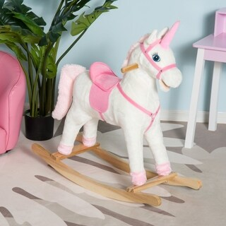 Qaba Kids Plush Unicorn Rocking Horse Toy with Realistic Sounds