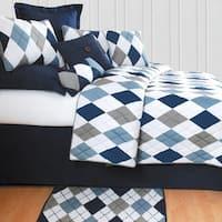 Argyle Blue Preppy Cotton Quilt Set