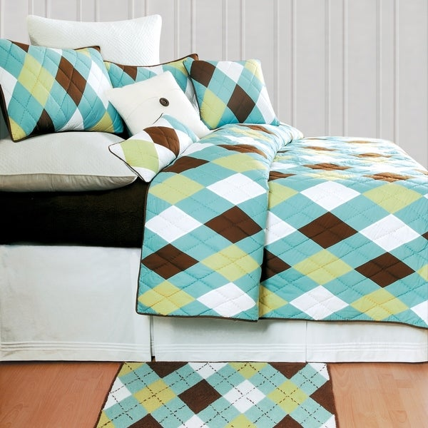 Argyle Aqua Preppy Cotton Quilt Set