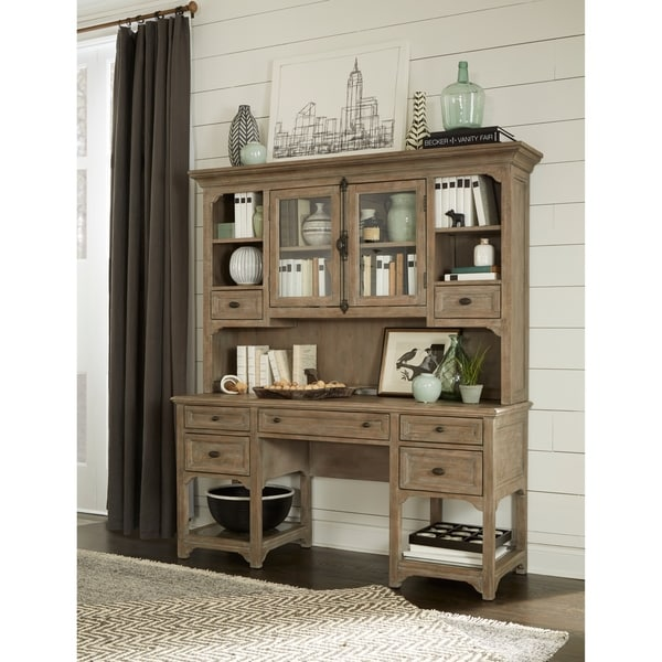 Tinley Park Traditional Dove Tail Grey Desk With Hutch