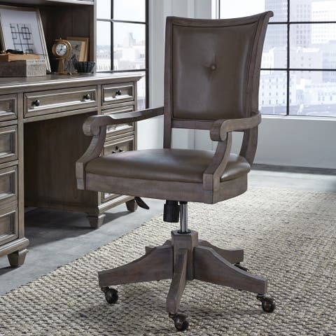 Lancaster Traditional Upholstered Swivel Office Chair