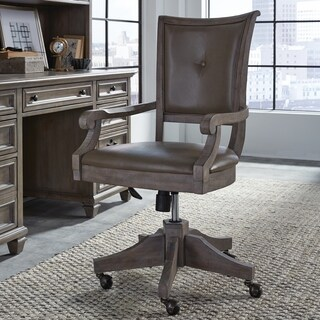 Lancaster Traditional Upholstered Swivel Office Chair - N/A