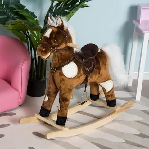 Kids Plush Toy Rocking Horse Ride on Toy with Realistic Sounds for Boys and Girls, Dark Brown