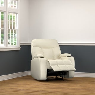 ProLounger Power Wall Hugger Storage Recliner Chair in Cream Renu Leather