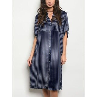 JED Women's Navy Striped Long Sleeve Knee Length Dress