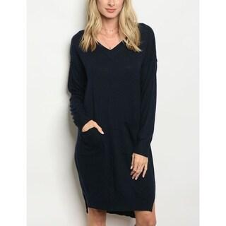 JED Women's Long Sleeve V-Neck Sweater Dress