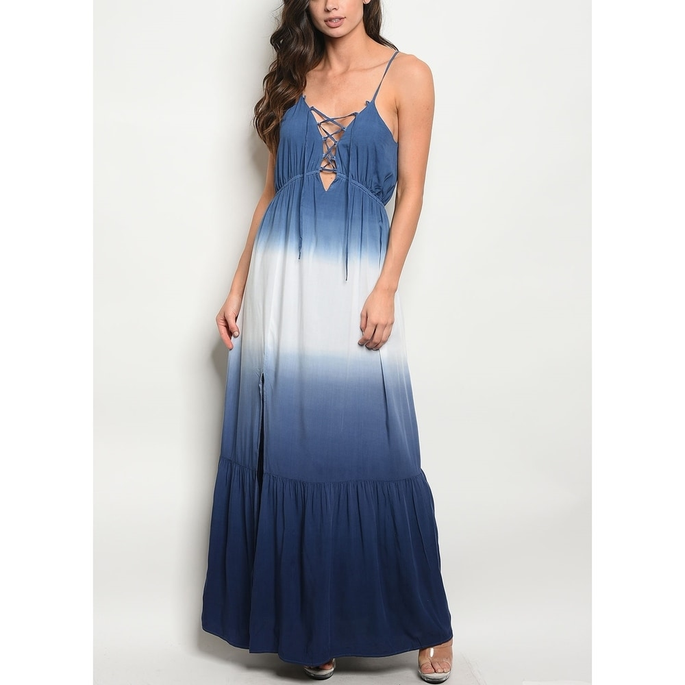 JED Womens Tie Dye Flared Sleeveless Maxi Dress