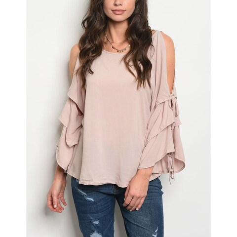 JED Women's Bell Sleeve Cold Shoulder Top