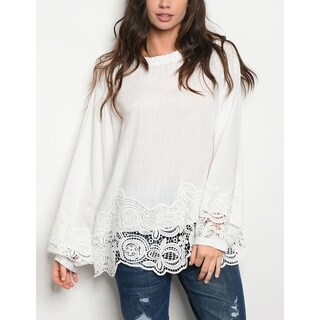 JED Women's Long Sleeve Crochet Hem Tunic Top