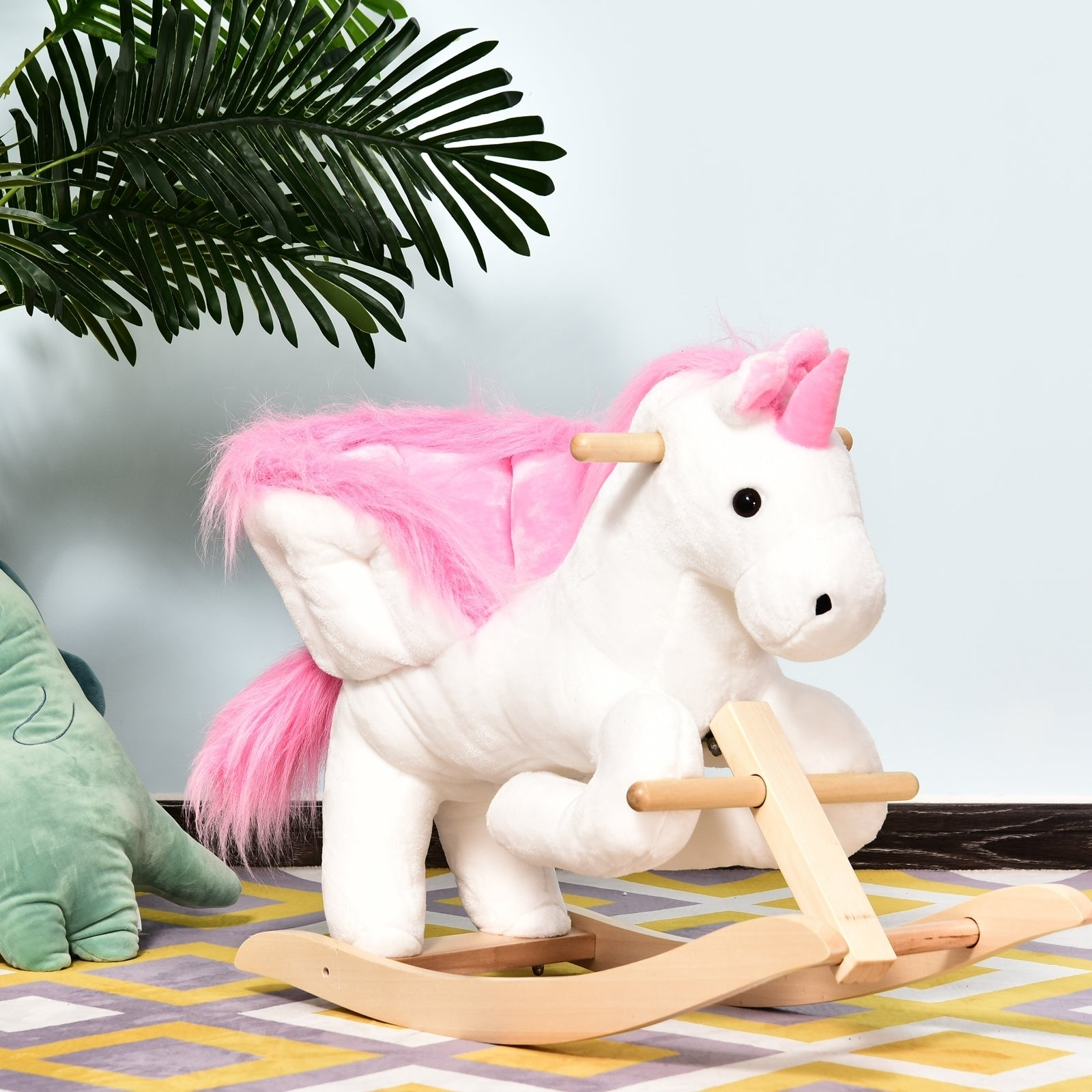 Qaba Kids Wooden Plush Ride On Unicorn Rocking Horse Chair Toy With Sing Along Songs On Sale Overstock 22409038