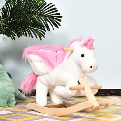 Qaba Kids Wooden Plush Ride-On Unicorn Rocking Horse Chair Toy with Sing Along Songs