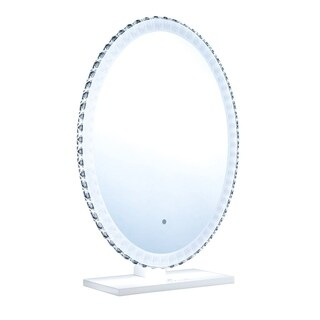 "ReignCharm Crystal Vanity Mirror, Pure Bright LED Lighting, Dimmer-Control, 23.6""W x 31.5""H"