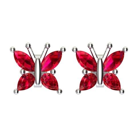 Cute Solid Sterling Silver Gemstone Butterfly Stud Earrings for Women