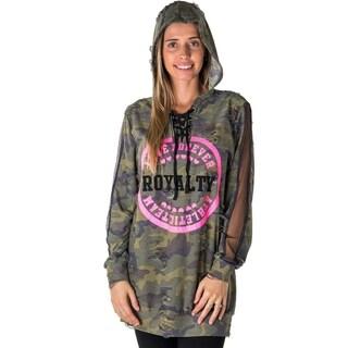 Ladies Mesh Hoody Sweatshirt Tunic Tops