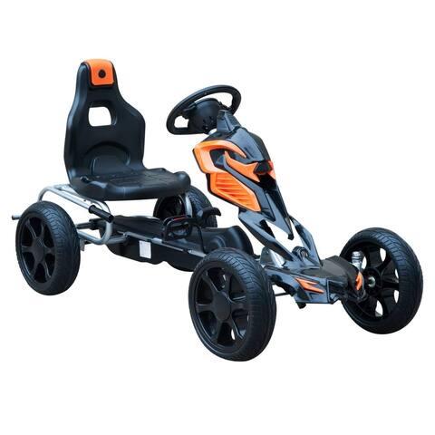 Aosom Kids Pedal Powered Ride On Go Kart Racer with Hand Brake - Orange