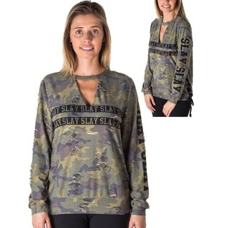 Ladies Choker Lace Up Distress Sweatshirt Top