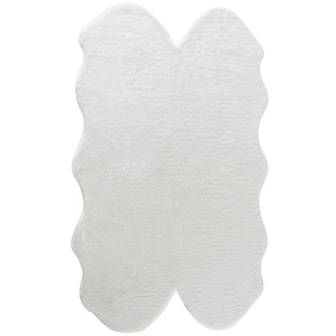 Fake Rabbit Fur Accent Area Rug - Ultra Soft with Faux Suede Backing - Polyester - 3x5 Quad Pelt Short Pile Sheepskin Rug